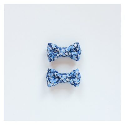 Twin Bow Clips - Blue Pepper