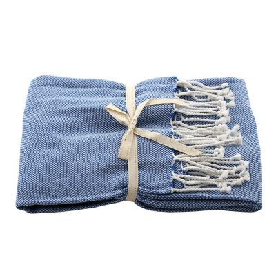 Basket Weave Throw Blue