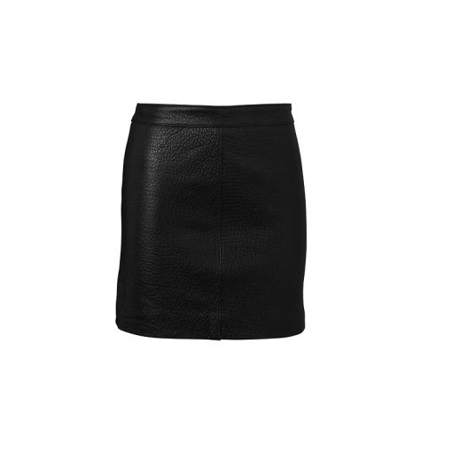 classic mini skirt black pebbled leather